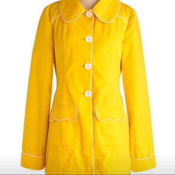 Tulle Jackets & Blazers - Modcloth Tulle Yellow Retro Trench Coat
